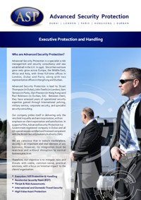 Executive Protection and Handling Brochure in English