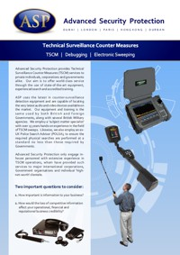 Technical Surveillance Countermeasures TSCM Brochure in English