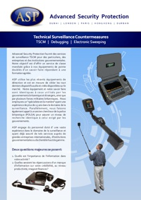 Technical Surveillance Countermeasures TSCM Brochure in French